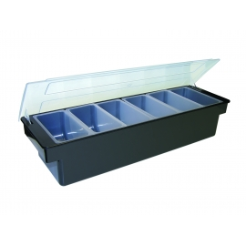 6 PINT BLACK PLASTIC CONDIMENT TRAY (EACH)