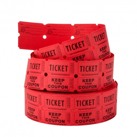 2-PART RAFFLE TICKETS, PERFORATED TICKET/COUPON (ROLL OF 1,000)