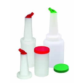JUICE CONTAINER / POURER COMBO FOR BAR MIXES / JUICES, GREEN LID/SPOUT
