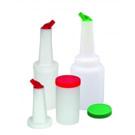 JUICE CONTAINER / POURER FOR BAR MIXES / JUICES, WHITE LID/CLEAR SPOUT