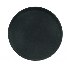 "11"" RUBBERIZED SERVER TRAY, BLACK, WITH NON-SKID SURFACE - SOLD EACH"