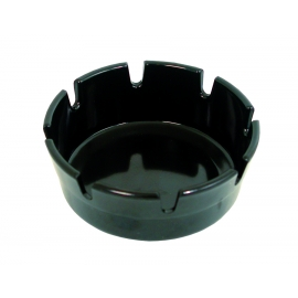 "4"" ROUND ASHTRAY, BLACK PLASTIC (12)"