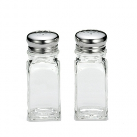 2 OZ SALT & PEPPER SHAKER, SQUARE GLASS JAR WITH STAINLESS STEEL TOP (12)