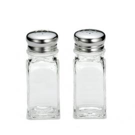 SALT & PEPPER SHAKER, 2 OZ, SQUARE GLASS JAR, STAINLESS STEEL TOP - SOLD PER DOZEN