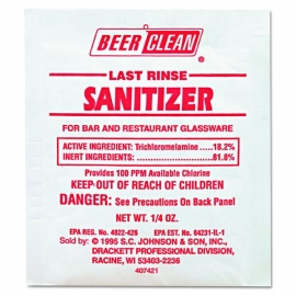 DIVERSEY BEER CLEAN LAST RINSE SANITIZER, FOR GLASSWARE, 90223 (100/PKS)