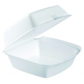 "DART 60HT1,  6"" X 6"" X 3"" WHITE FOAM HINGED LID CONTAINER, (500)"