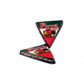 "PIZZA SLICE HINGED-LID CONTAINER, 9"" LENGTH, STOCK ""PIZZA"" PRINT - 200 PER CASE"