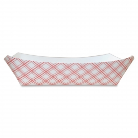 PAPER FOOD TRAY / BOAT, 3 LB, RED & WHITE PLAID (500)