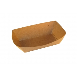 PAPER FOOD TRAY / BOAT, 1/4 LB, KRAFT / NATURAL - 1,000 PER CASE