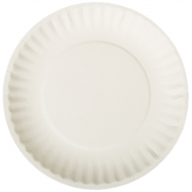 "WHITE PAPER PLATE 9""  UNCOATED, SPIRAL, FLUTED EDGE - SOLD PER CASE"