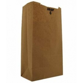"DURO PAPER BAG, 6 LB, KRAFT, 6"" X 3-5/8"" X 11-1/16"" - 500 PER PACK"