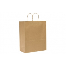 "PAPER BAG, HANDLED, KRAFT, 13"" X 7"" X 17"" - 250 PER CASE"