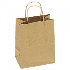 "PAPER BAG, HANDLED, KRAFT, 10"" X 7"" X 12"" - 250 PER CASE"