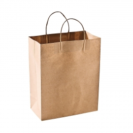 "PAPER BAG, HANDLED, KRAFT, 8"" X 4.75"" X 10.5"" - 250 PER CASE"