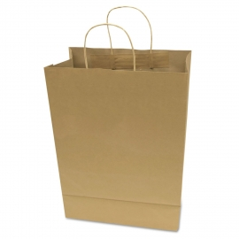 "PAPER BAG, HANDLED, KRAFT, 10"" X 6-3/4"" X 12"" - 250 PER CASE"