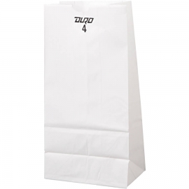 "DURO PAPER BAG, 4 LB, WHITE, 5"" X 3-1/3"" X 9-3/4"" - 500 PER PACK"