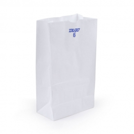 "DURO PAPER BAG, 6 LB, WHITE, 6"" X 3-5/8"" X 11-1/16"" - 500 PER PACK"