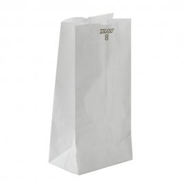 "DURO PAPER BAG, 8 LB, WHITE, 6-1/8"" X 4-1/8"" X 12-7/16"" - 500 PER PACK"