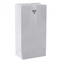 "DURO PAPER BAG, 12 LB, WHITE, 7-1/16"" X 4-1/2"" X 13-3/4"" - 500 PER PACK"