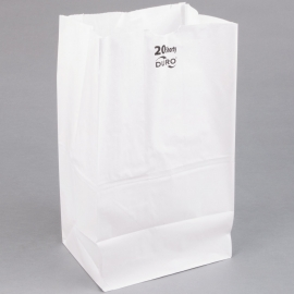 "DURO PAPER BAG, 20 LB, WHITE, 8-1/4"" X 5-5/16"" X 16-1/8""  - 500 PER PACK"
