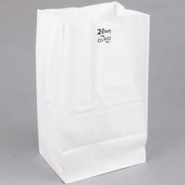 "DURO PAPER BAG, 20 LB, WHITE, 8-1/4"" X 5-5/16"" X 16-1/8""  - 500 PER PACK"