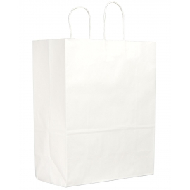 "DURO PAPER BAG , HANDLED, WHITE, 13"" X 6"" X 15.75"" - 250 PER CASE"