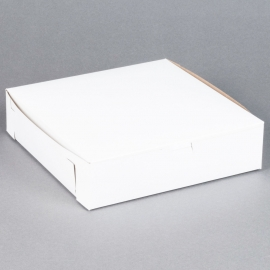"WHITE CLAYCOATED BAKERY BOX, 10"" X 10"" X 2.5"" - 250 PER PACK"