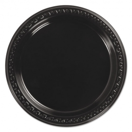 "CHINET 9"" BLACK HEAVYWEIGHT PLASTIC PLATE, 81409 (500)"
