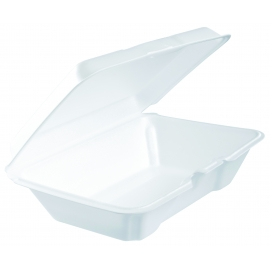 "DART 205HT1,  9.25"" X 6.5"" X 3"" WHITE FOAM HINGED LID CONTAINER (200)"