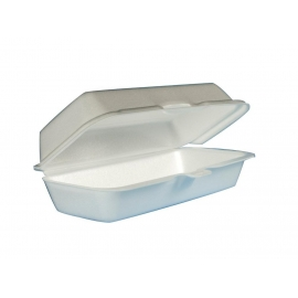 """DART 72HT1,  3.75"""" X 7"""" X 2"""" WHITE FOAM HINGED LID CONTAINER, (500)"""