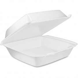 "DART 85HT1,  8.5"" X 8"" X 3"" WHITE FOAM HINGED LID CONTAINER, (200)"