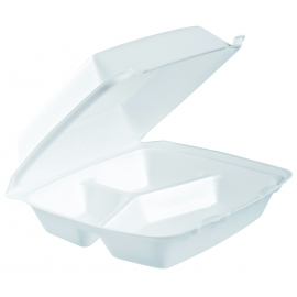 """DART 85HT3, 8.5"""" X 8"""" X 3"""" WHITE 3 COMPARTMENT FOAM HINGED LID CONTAINER (200)"""