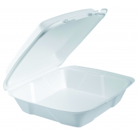 "DART 90HT1, 9"" X 9"" X 3"" WHITE FOAM HINGED LID CONTAINER, (200)"