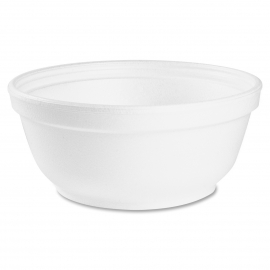 DART 8B20, 8 OZ  WHITE FOAM BOWL, (1000) USE ANY SIZE 20 LID