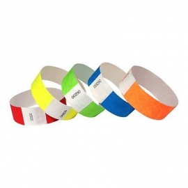 "TYVEK® PAPER WRISTBAND, NEON ORANGE, 3/4"" X 10"" - 500 PER BOX"