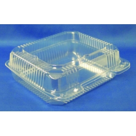 "DPI CLEAR PLASTIC, 8"" SQUARE HINGED LID CONTAINER , PXT-880 (250)"