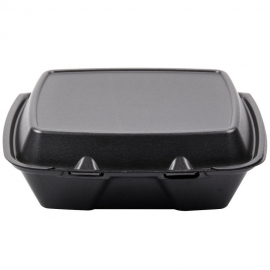 "DARNEL 9"" SQUARE BLACK FOAM HINGED LID CONTAINER, DU4061199 (200)"