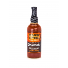 "MAJOR PETERS BLOODY MARY MIX, ""THE WORKS"", LITER GLASS BOTTLE"