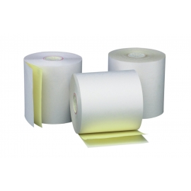 "2-PLY REGISTER ROLLS, 3"" X 90' WHITE/CANARY PAPER (50)"