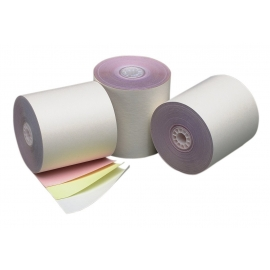"""3-PLY REGISTER ROLLS, 3"""" X 70' WHITE/CANARY/PINK PAPER (50)"""