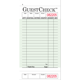 "GUEST CHECK, 1-PART, 3.5"" X 6.75"", 18 LINES, BOARD PAPER - 2,500 CHECKS/CS"