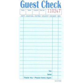 "GUEST CHECK, 2-PART, 3.4"" X 6.75"", 17 LINES, BOOK CARBONLESS - 2,500 CHECKS"