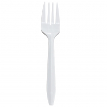 FORK, PLASTIC, WHITE, MW, POLY