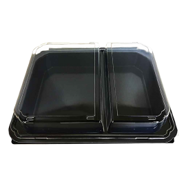 PURE PACKAGING TO GO CONTAINER, PLASTIC, HINGED LID, DINNER BOX BLACK/CLEAR