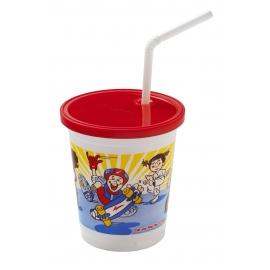 FABRIL-KAL 12OZ PLASTIC KIDS CUP W/LID, STOCK PRINT SC12 (250)