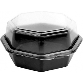 "6"" TO GO CONTAINER, PLASTIC, BLACK BASE/CLEAR HINGED LID - 200 PER CASE"