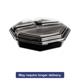 "9"", 3-COMPARTMENT TO GO CONTAINER, PLASTIC, BLACK BASE/CLEAR HINGED LID"