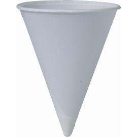 PAPER CONE WATER CUP, 4.5 OZ WITH ROLLED RIM (5000)