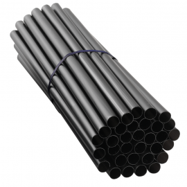 "BLACK STIR STRAW, 6"", BLACK, WIDE DIAMETER, UNWRAPPED (3,000)"
