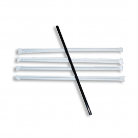 "BEVERAGE STRAW, 7.75"", BLACK, JUMBO (STANDARD) DIAMETER, PAPER WRAPPED - 5,000 PER CASE"